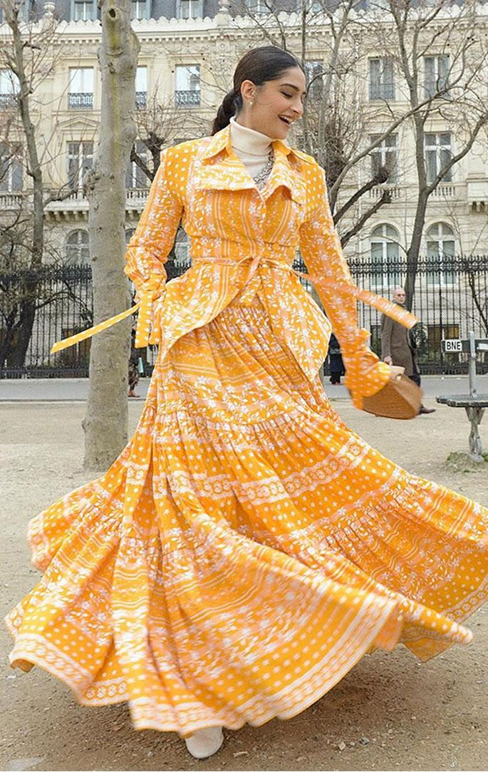 5 Lush Looks of Sonam Kapoor at Paris Fashion Week - yellow