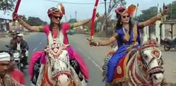 Indian Sisters arrive at Wedding On Horses with Swords
