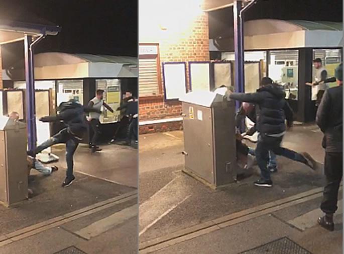Violent 'Racial' Fight erupts on Train Platform in St Albans - kicks