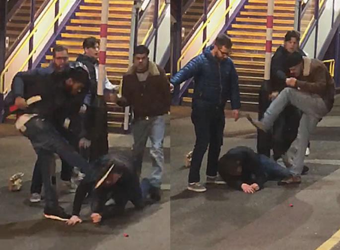 Violent 'Racial' Fight erupts on Train Platform in St Albans - stamping