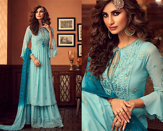 Gorgeous Wide Leg Salwar Kameez Suits to Wear - blue