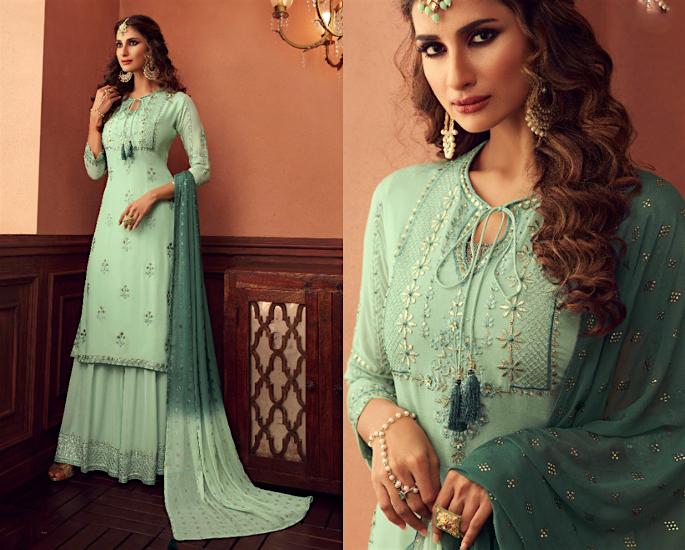 Gorgeous Wide Leg Salwar Kameez Suits to Wear - green