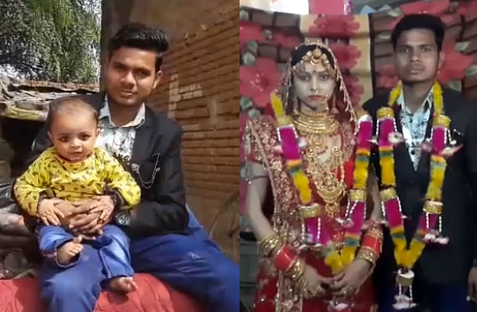 Indian Bride & Groom get Married with their 7-month-old Son - couple
