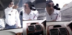 Indian Traffic Cop forcibly Driven on Car Bonnet for 2km f