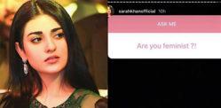 પાકિસ્તાની અભિનેત્રી સારાહ ખાને 'નારીવાદી' ટીકાની ટીકા કરી હતી