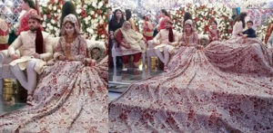 Pakistani Bride gets Trolled for her 100kg Bridal Dress f