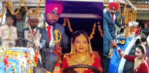 Indian Bride drives Groom Home on a Decorated Tractor f