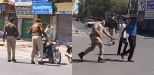 Indian Police beat Public with Lathis to enforce Janta Curfew f