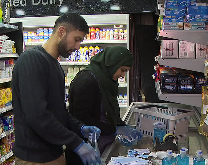 Scottish Asian Shop owners give Free COVID-19 Kits to Elderly - packs