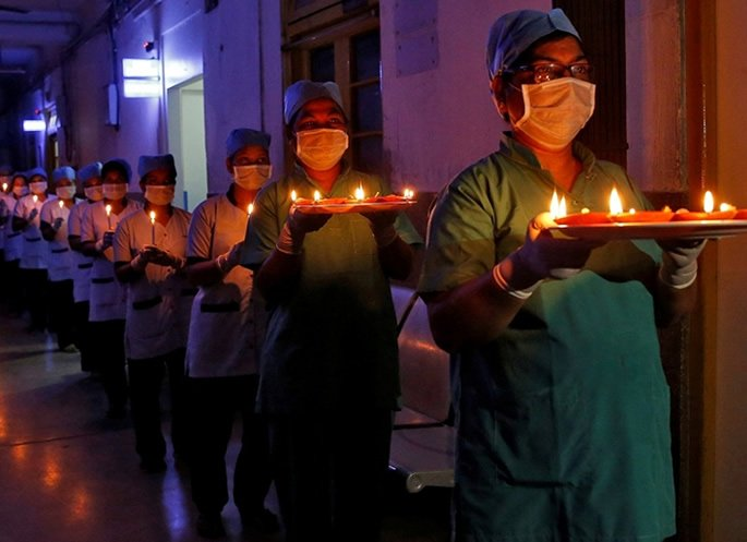India Lights Up for Symbolic Fight against COVID-19 - medics