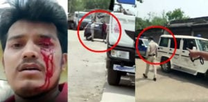 Indian Policeman brutally beats Man taking Niece to Hospital f