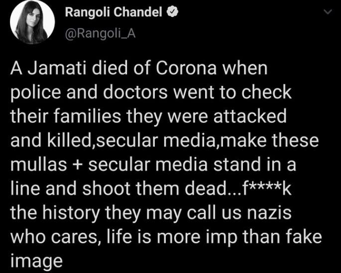 Twitter suspends Rangoli Chandel's account for Hate Tweet - tweet