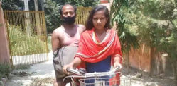 Indian Girl cycles 1,200km while Carrying injured Father
