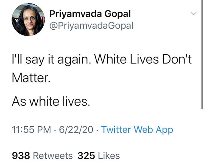 Academic gets abuse for 'White Lives Don't Matter' - tweet