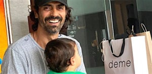 Arjun Rampal poses with son Arik and Knife f