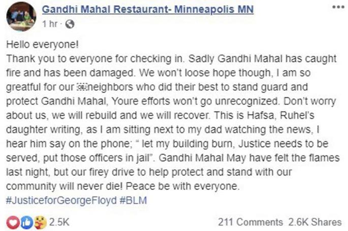 Owner backs George Floyd Protests after Restaurant set Alight