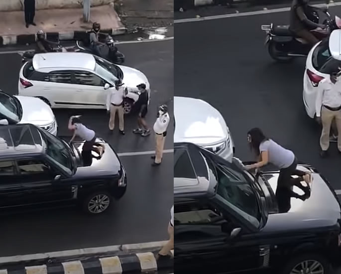 Indian Wife halts Traffic catching Husband with Girlfriend - chappal (1)