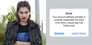 Payal Rohtagi's shares anger over Twitter account suspension f