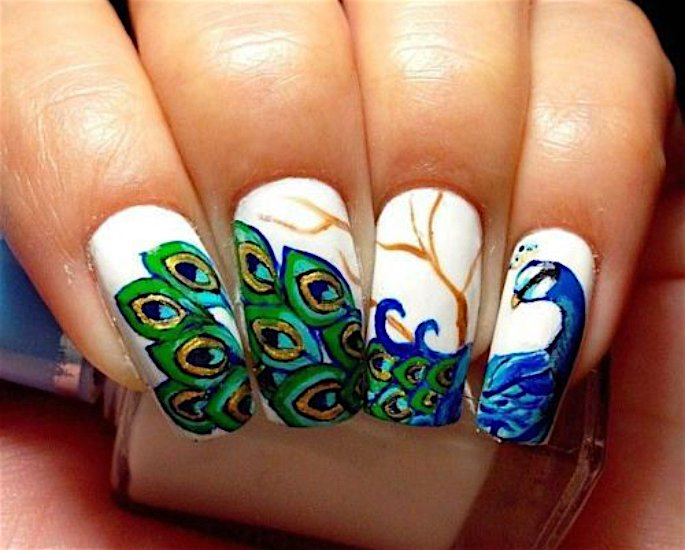 Top Indian Nail Art Designs - peacock