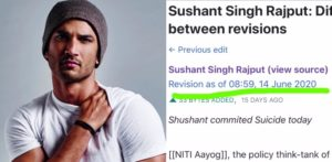 Wikipedia updated Sushant's death before he committed suicide? f
