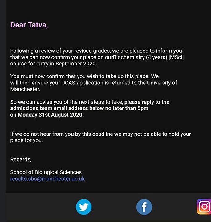 University of Manchester sent Hopeful Student 'Incorrect' Offer