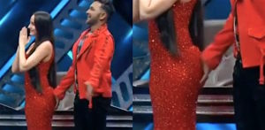 Terence Lewis touches Nora Fethi's Bottom on TV Show f