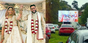 Couple have Drive-in Wedding with 200 Guests f