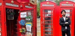 Man opens 'World's Smallest Takeaway' from red Phone Box f