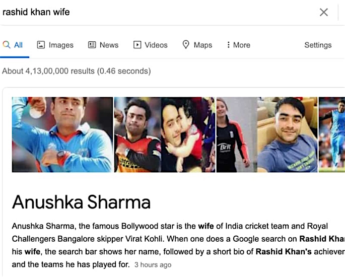 Why does Google show Anushka Sharma as Rashid Khan's Wife? - google search