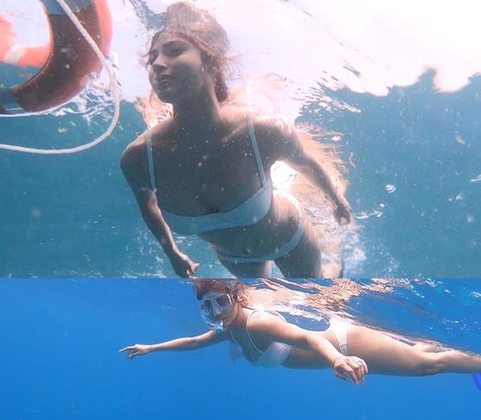 Bollywood Stars in Bikinis on the Beaches of Maldives - mouni underwater