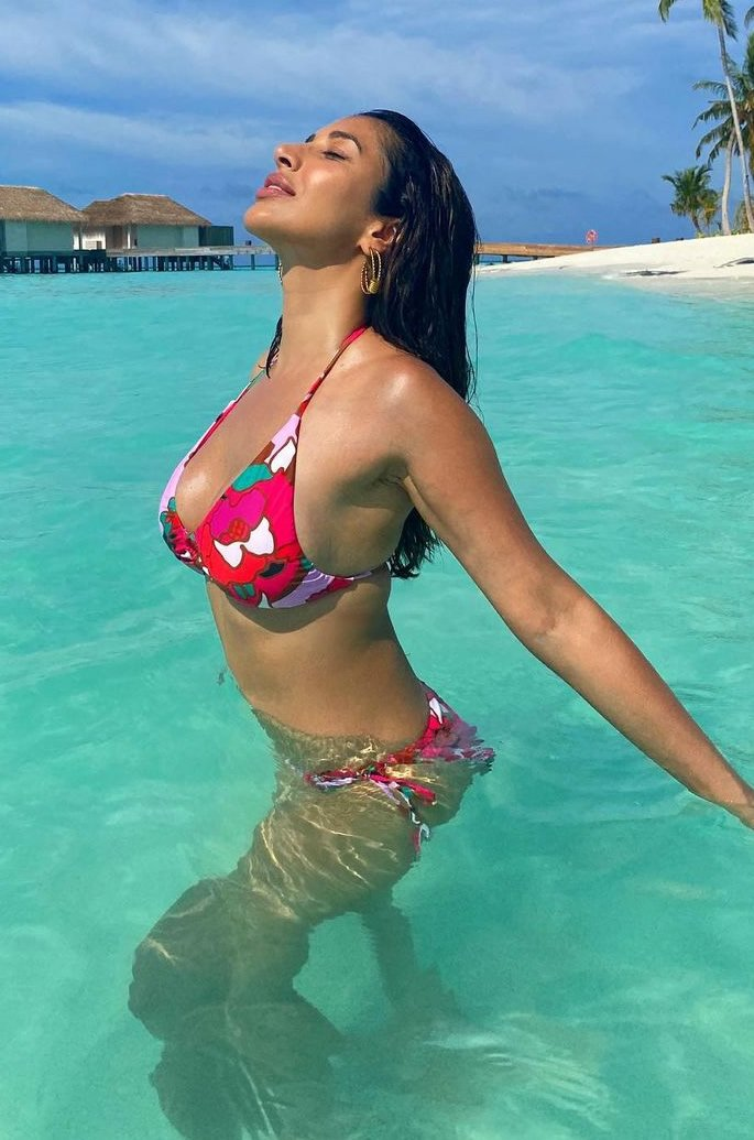 Bollywood Stars in Bikinis on the Beaches of Maldives - pool