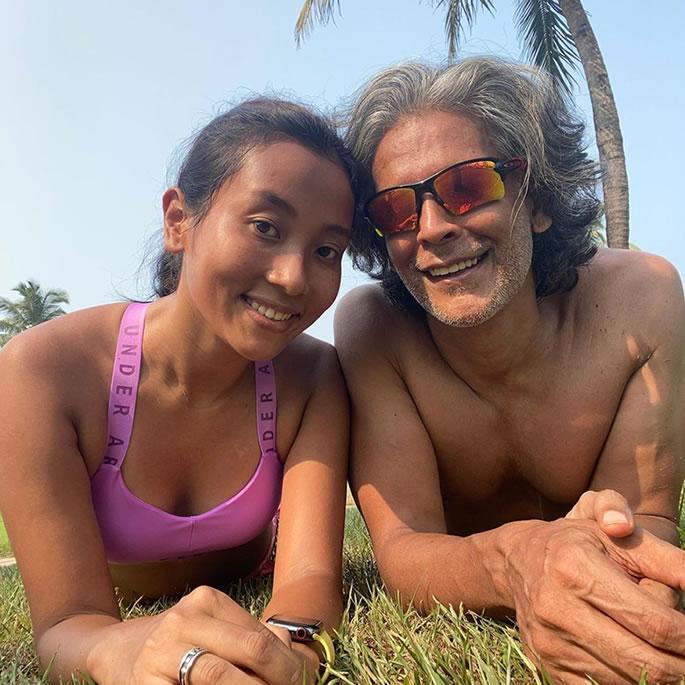 Milind Soman goes Nude to Celebrate Birthday on Beach - couple