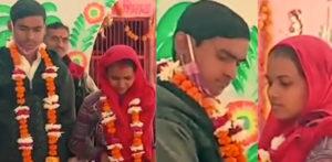 والدین کے ذریعہ مخالفت کی گئی پولیس سے شادی میں پولیس کی مدد