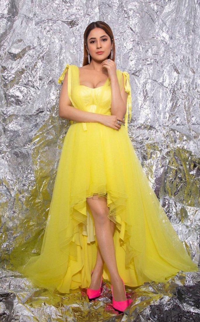 7 Stunning Looks of Indian Actress Shehnaz Gill - yellow