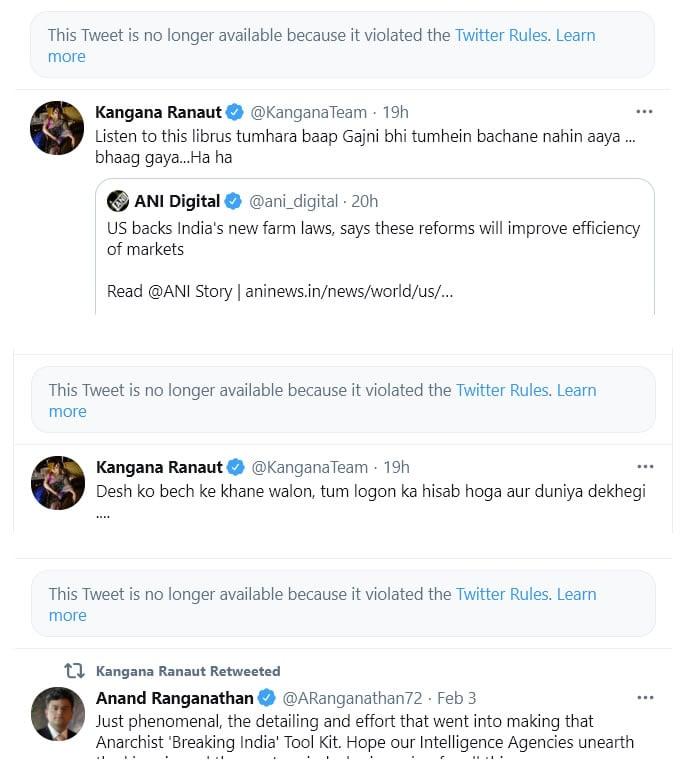Twitter deletes Kangana Ranaut's Tweet abusing Rihanna - removals