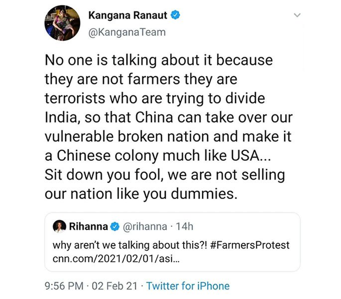 Kangana Ranaut told to apologise for Farmers' protest tweets -