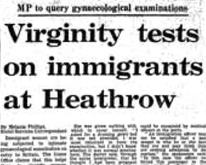 1970 ના દાયકાના બ્રિટનમાં વર્જિનિટી ટેસ્ટ અને ઇમિગ્રેશન - લેખ