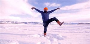 Canadian Man dances Bhangra on Frozen Lake post-Vaccine f