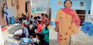 એક પગવાળું ભારતીય વુમન બાળકોને ડોર ટુ ડોર શીખવે છે