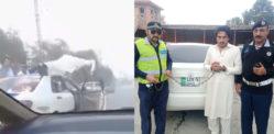 Pakistani man doing Push-ups on a Moving Car's Door