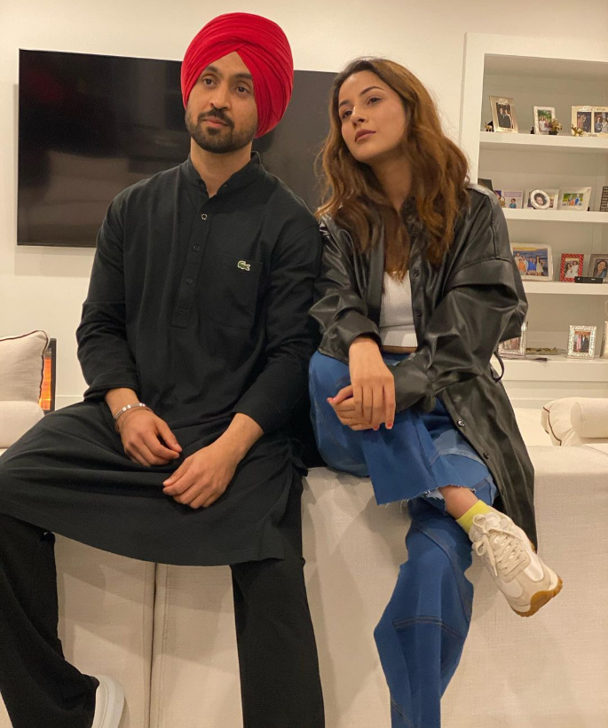 Diljit Dosanjh & Shehnaaz Gill twin in Black Outfits 3
