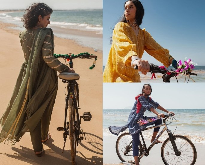 સાયકલ - કોલાજ પર મહિલાઓને દર્શાવતા પાકિસ્તાની ફેશન અભિયાન