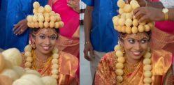 भारतीय दुल्हन शादी के लिए पानीपुरी 'आभूषण' पहनती है