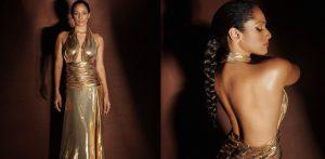 Masaba Gupta glows in Golden Backless Gown f