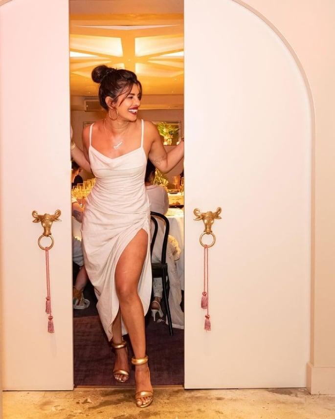 Priyanka Chopra dazzles in White Dress for Restaurant Visit - restaurant