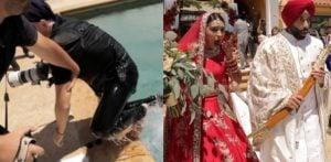 भारतीय वेडिंग फ़ोटोग्राफ़र पूल कैप्चरिंग कपल में गिर गया f